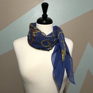 J. McLaughlin Blue Gold Orange Silk Scarf
